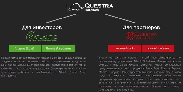 для инвесторов Atlantic Global Asset Management и для партнеров Questra World